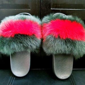 9da0a10387edb -Handmade Green Red Luxury Fox Fur Fluffy Slide